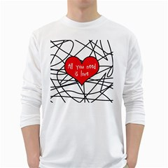 Love Abstract Heart Romance Shape White Long Sleeve T Shirts
