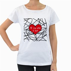 Love Abstract Heart Romance Shape Women s Loose Fit T Shirt (white)