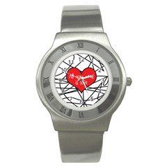 Love Abstract Heart Romance Shape Stainless Steel Watch
