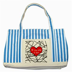 Love Abstract Heart Romance Shape Striped Blue Tote Bag