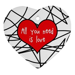 Love Abstract Heart Romance Shape Heart Ornament (two Sides)