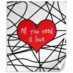 Love Abstract Heart Romance Shape Canvas 8  X 10
