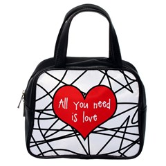 Love Abstract Heart Romance Shape Classic Handbags (one Side)
