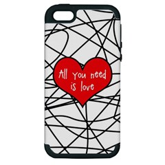 Love Abstract Heart Romance Shape Apple Iphone 5 Hardshell Case (pc+silicone)