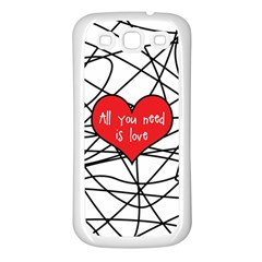 Love Abstract Heart Romance Shape Samsung Galaxy S3 Back Case (white)