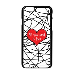 Love Abstract Heart Romance Shape Apple Iphone 6/6s Black Enamel Case