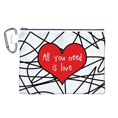 Love Abstract Heart Romance Shape Canvas Cosmetic Bag (l)