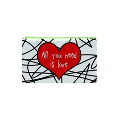 Love Abstract Heart Romance Shape Cosmetic Bag (xs)