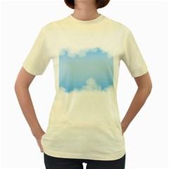 Sky Cloud Blue Texture Women s Yellow T Shirt
