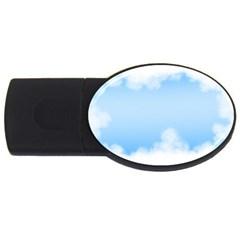 Sky Cloud Blue Texture Usb Flash Drive Oval (2 Gb)