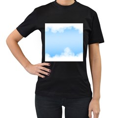 Sky Cloud Blue Texture Women s T Shirt (black) (two Sided)