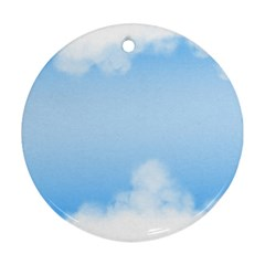 Sky Cloud Blue Texture Round Ornament (two Sides)