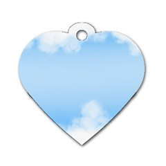 Sky Cloud Blue Texture Dog Tag Heart (two Sides)