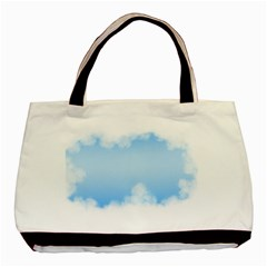 Sky Cloud Blue Texture Basic Tote Bag (two Sides)