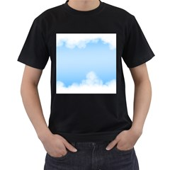 Sky Cloud Blue Texture Men s T Shirt (black)