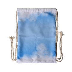 Sky Cloud Blue Texture Drawstring Bag (small)