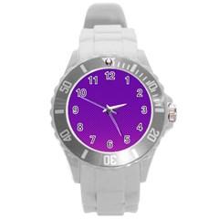 Halftone Background Pattern Purple Round Plastic Sport Watch (l)