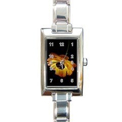 Ranunculus Yellow Orange Blossom Rectangle Italian Charm Watch