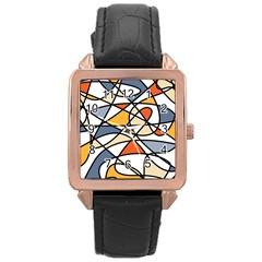Abstract Background Abstract Rose Gold Leather Watch