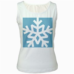 Snowflake Snow Flake White Winter Women s White Tank Top