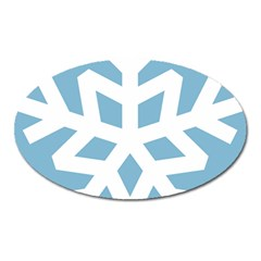 Snowflake Snow Flake White Winter Oval Magnet