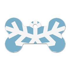 Snowflake Snow Flake White Winter Dog Tag Bone (one Side)