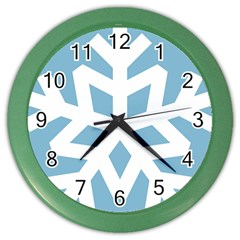 Snowflake Snow Flake White Winter Color Wall Clocks