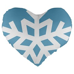 Snowflake Snow Flake White Winter Large 19  Premium Flano Heart Shape Cushions