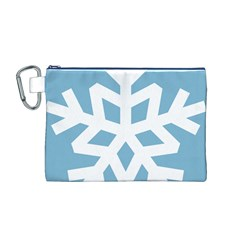 Snowflake Snow Flake White Winter Canvas Cosmetic Bag (m)