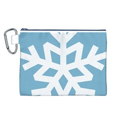 Snowflake Snow Flake White Winter Canvas Cosmetic Bag (l)