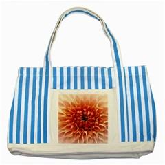 Dahlia Flower Joy Nature Luck Striped Blue Tote Bag