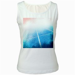 Court Sport Blue Red White Women s White Tank Top