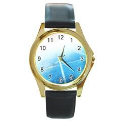 Court Sport Blue Red White Round Gold Metal Watch
