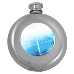 Court Sport Blue Red White Round Hip Flask (5 Oz)