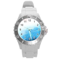 Court Sport Blue Red White Round Plastic Sport Watch (l)