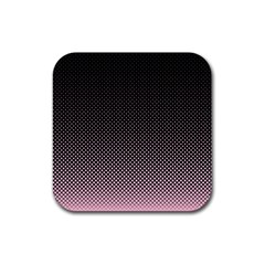 Halftone Background Pattern Black Rubber Coaster (square)