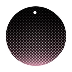 Halftone Background Pattern Black Round Ornament (two Sides)