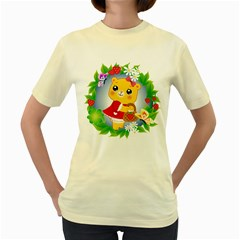 Bear Strawberries Women s Yellow T Shirt