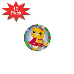 Bear Strawberries 1  Mini Buttons (10 Pack)