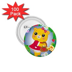 Bear Strawberries 1 75  Buttons (100 Pack)
