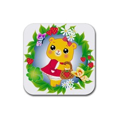 Bear Strawberries Rubber Square Coaster (4 Pack)