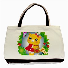 Bear Strawberries Basic Tote Bag