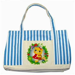 Bear Strawberries Striped Blue Tote Bag