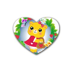 Bear Strawberries Rubber Coaster (heart)