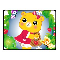Bear Strawberries Fleece Blanket (small)
