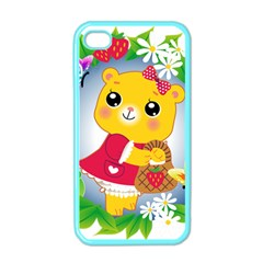 Bear Strawberries Apple Iphone 4 Case (color)