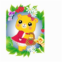 Bear Strawberries Large Garden Flag (two Sides)