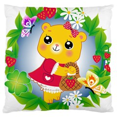 Bear Strawberries Large Cushion Case (two Sides)