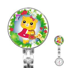 Bear Strawberries Stainless Steel Nurses Watch