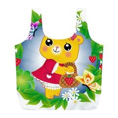 Bear Strawberries Full Print Recycle Bags (l)
